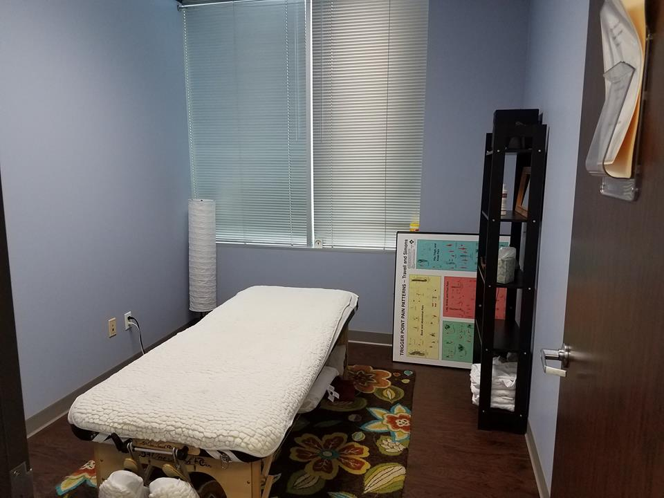 The massage therapy room. Pam, the massage therapist, is awesome! (The posters were not up at the time of this picture... it looks a lot better now!)