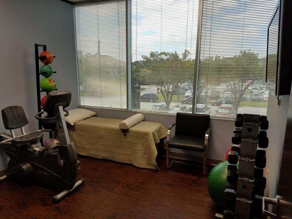 One angle of the physical rehabilitation room. A lot of activity goes on here.
